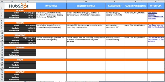 Hubspot's Example of an Editorial Calendar