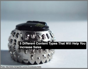 5 Different content types - typed by you