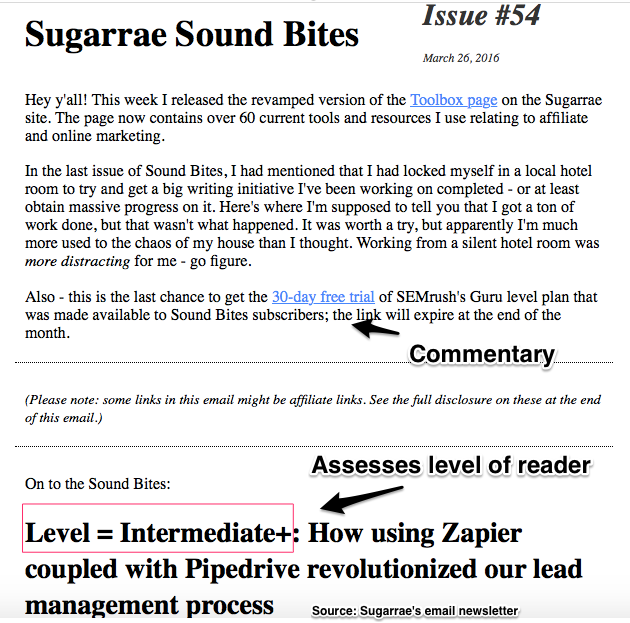 Sugarrae's Email Content Curation