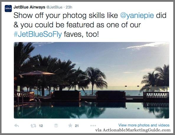 Visual Content Tells A Story - JetBlue Tweet