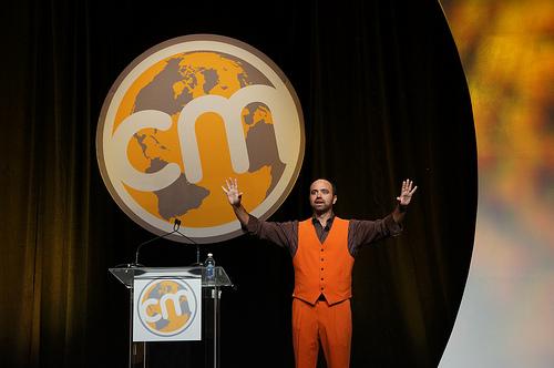 Joe Pulizzi in Content Marketing Institute Orange at Content Marketing World