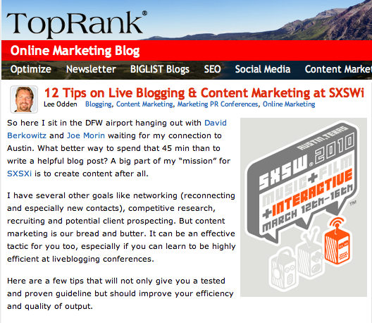 Lee Odden Post on TopRank Blog