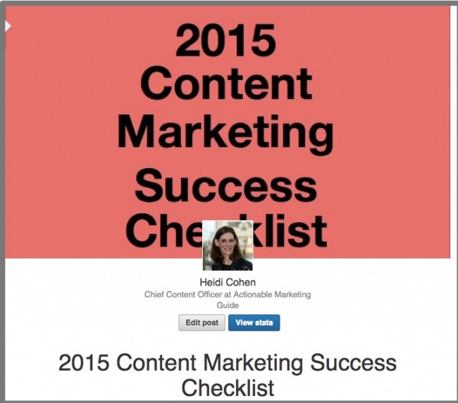 LinkedIn Publishing-2015 Content Marketing Success Checklist | Heidi Cohen | LinkedIn