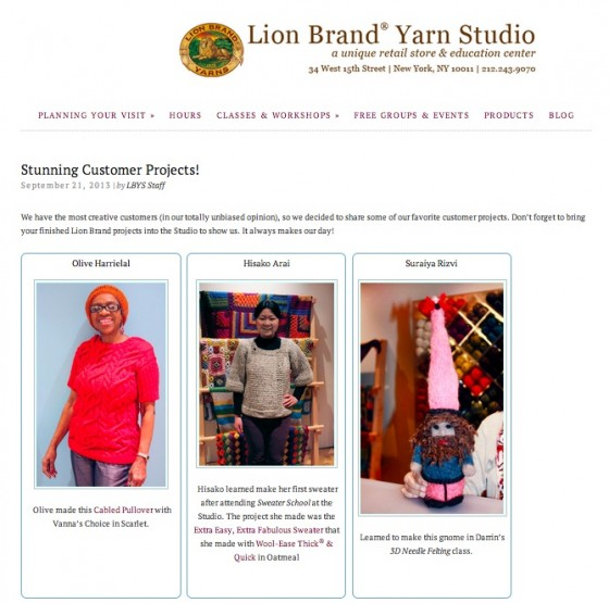 Lion Brand Yarn Studio -Customer projects