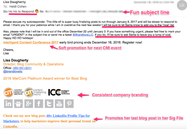 Holiday Email Autoresponder - Example