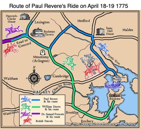 Route of Paul Revere's Ride