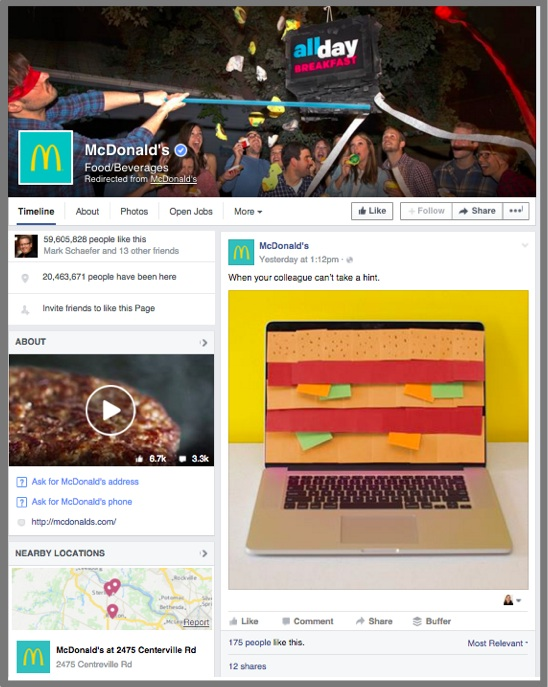 McDonald's uses work relevant humor to attract attention on Facebook