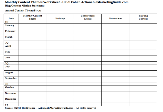 Monthly Content Themes - WORKSHEET