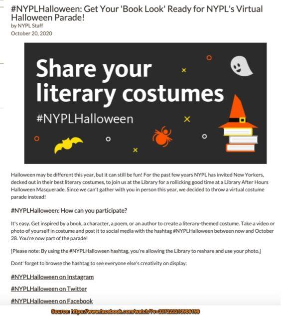 Halloween Social Media Marketing Tip Example-NYPL