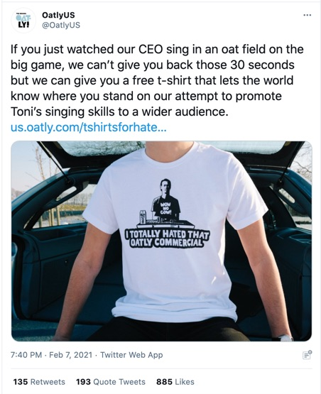 Oatly Response to Super Bowl Ad