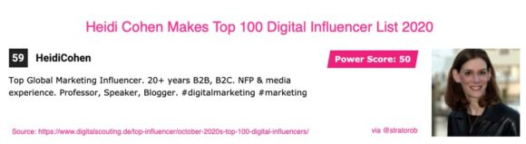 HeidiCohen Makes Top 100 Digital Influencer List 2020