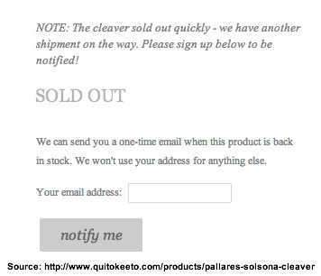 Pallarès Solsona Cleaver-QUITOKEETO-Sold Out Notice