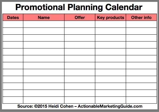Promotional Planning Calendar