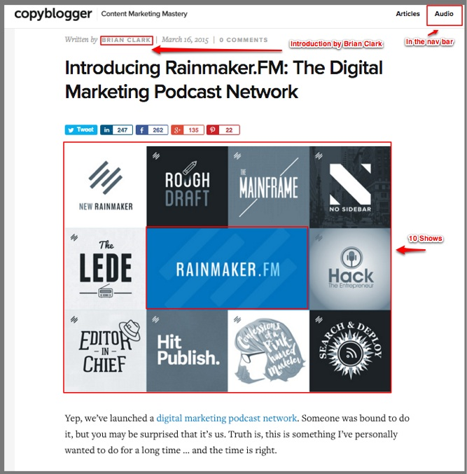 Audio content -podcasts from Copyblogger