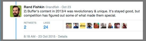 Rand Fishkin's Tweets about Buffer's Social Media Traffic Falloff