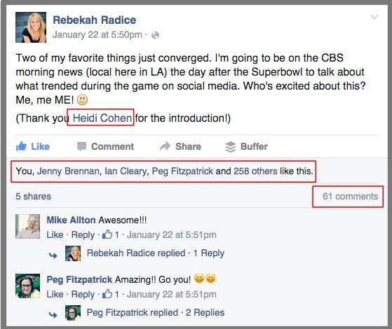 Rebekah Radice Facebook Mention