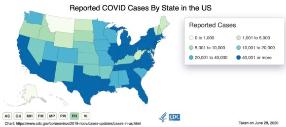 Reported COVID Cases By State n the US