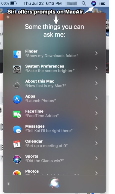 Siri Display on Mac Air in upper right hand corner