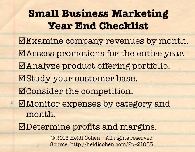 small business marketing year end checklist heidi cohen