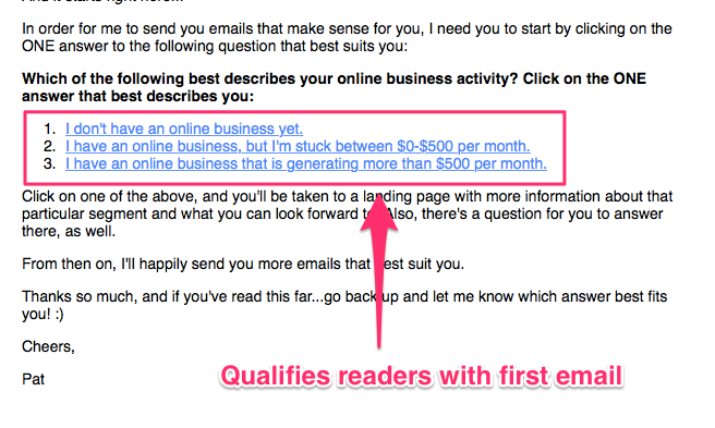 Qualify your email recipients with the first email - Smart Passive Income by Pat Flynn
