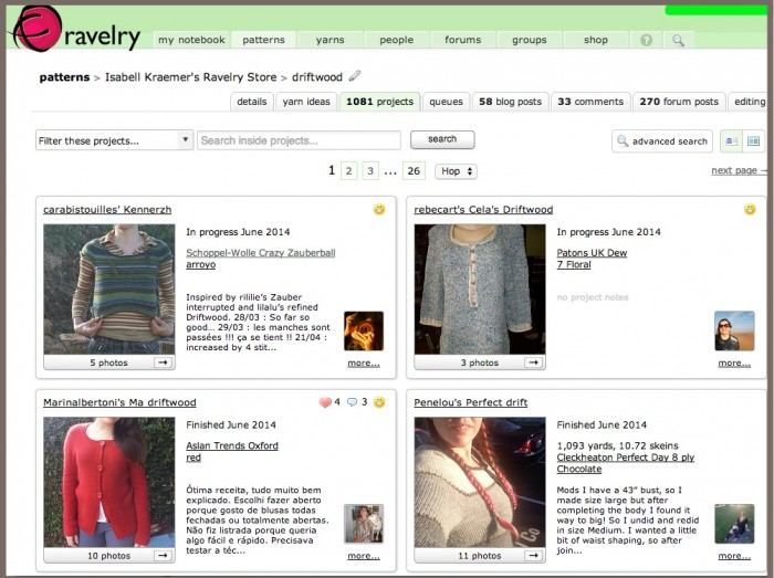 Ravelry Project Pages