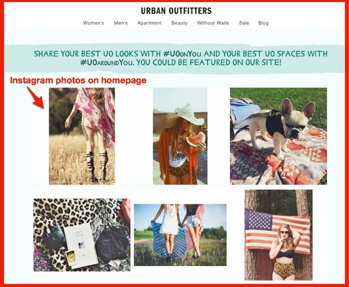 Urban Outfitter instagram user generated content