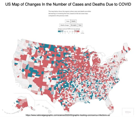 US Map of changes in number of COVID cases and deaths