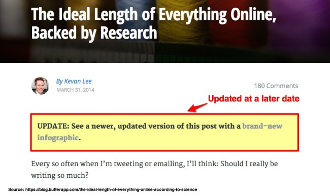 Updated Older Blog Content To Help Readers - Buffer Example