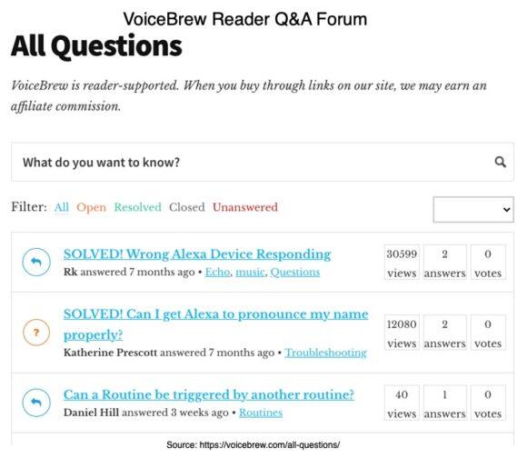 VoiceBrew Reader Q&A Forum