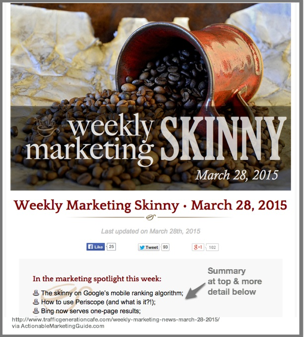 Weekly Marketing Skinny- Traffic Generation Cafe example via Actionable Marketing Guide