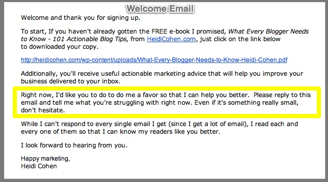 Example of how to gather information from new email subscribers via Actionable Marketing Guide