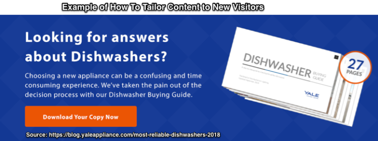 Example of how to tailor content to new visitors