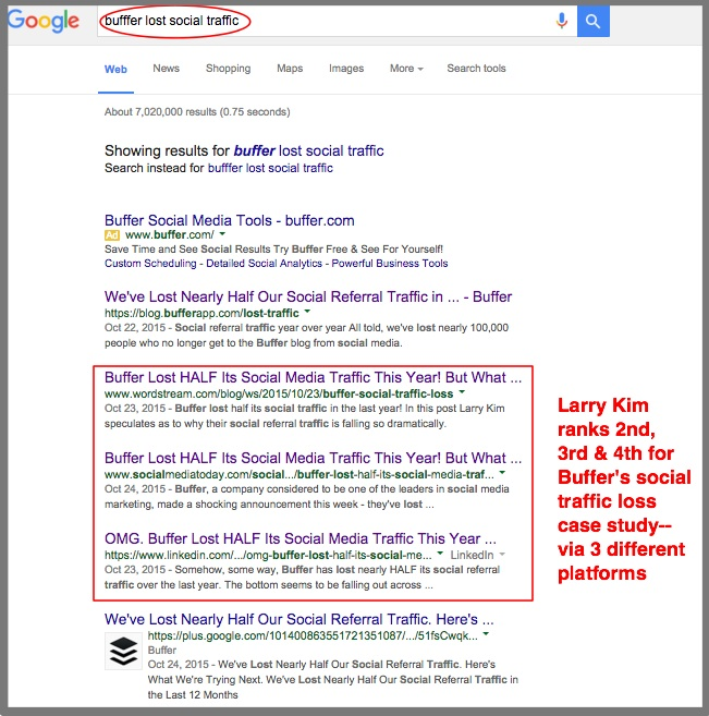 Google Search Results For Buffer Article On Their Loss of Social Traffic