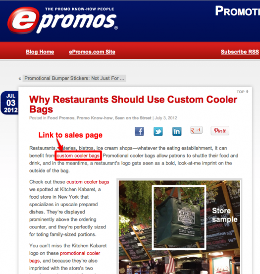 ePromos' blog sells by providing using contextually relevant content
