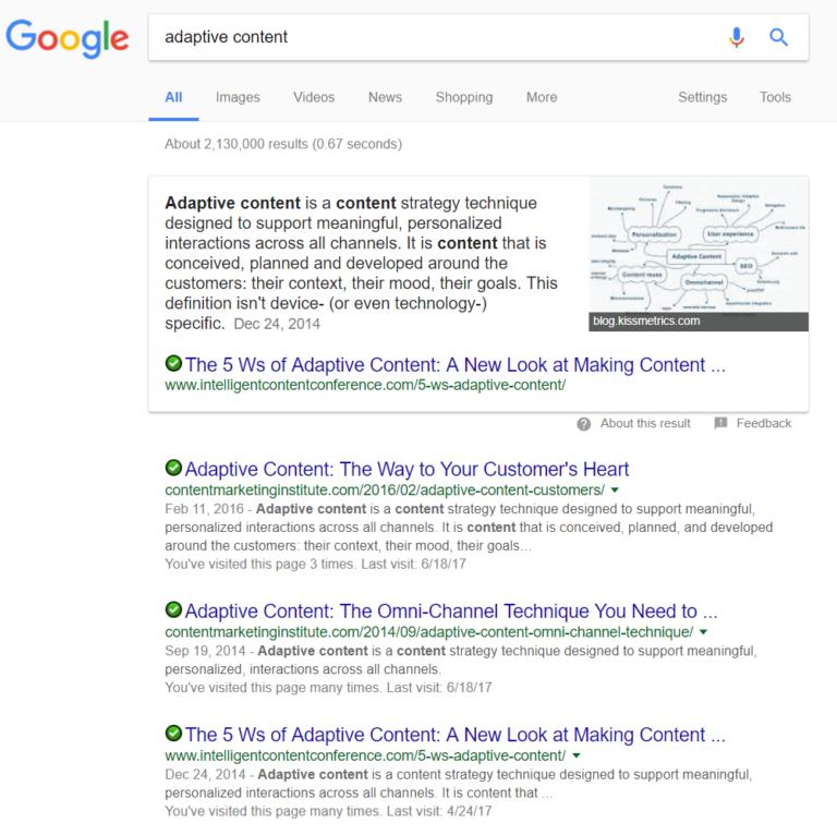 adaptive content serp