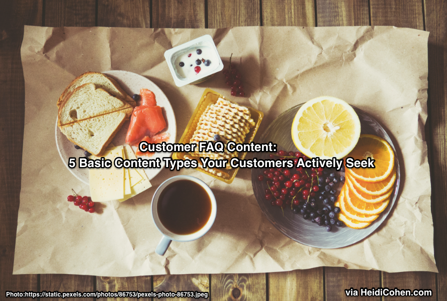 Customer FAQ Content Like 5 Food Groups