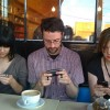 smartphones at the cafe