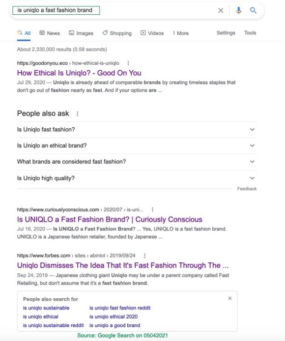 UNIQLO ethical SERP