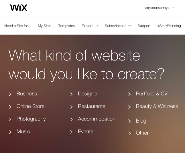 Screenshot of Wix Website Selection Panel
